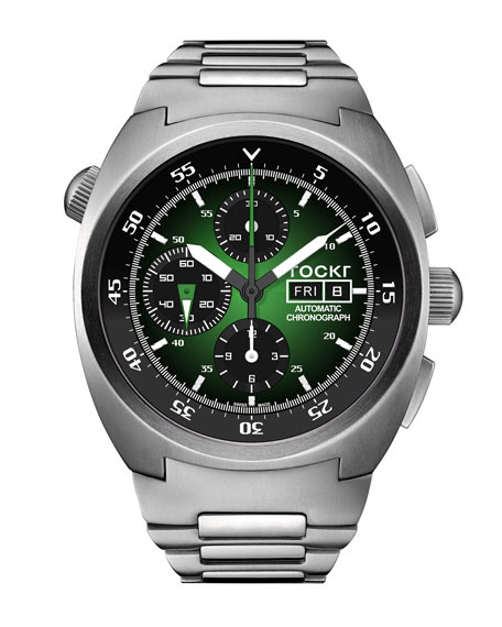 Tockr Watches Men's 45mm Air Defender Chronograph Stainless Steel Watch