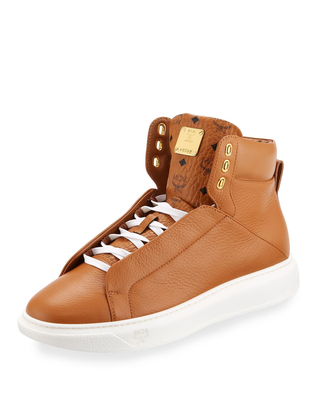 e2055ed75e5 MCM Men s Visetos-Trim Leather High-Top Sneakers