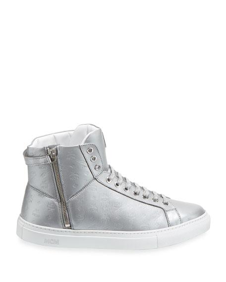 MCM Men's Embossed Leather Turn-Lock High-Top Sneakers