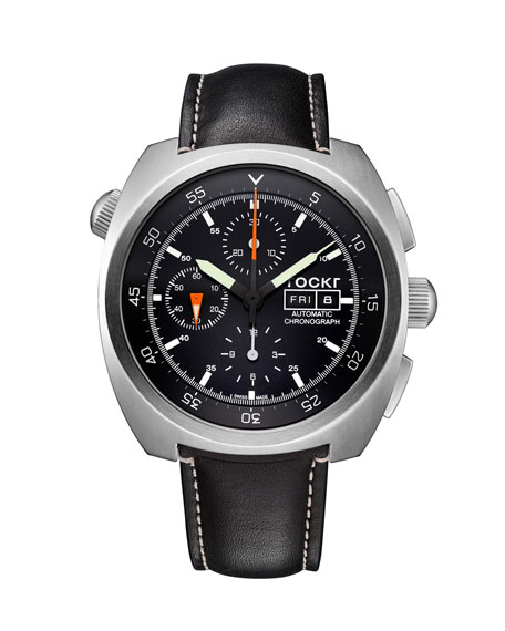 Tockr Watches Men's 45mm Air Defender Chronograph Watch with Black Leather Strap