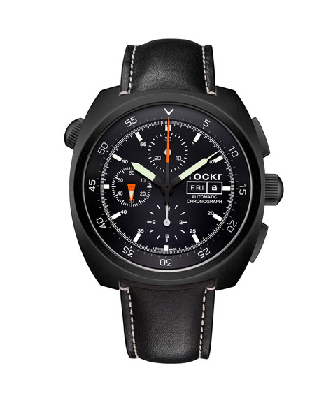 Tockr Watches Men's 45mm Air Defender Leather Chronograph Watch