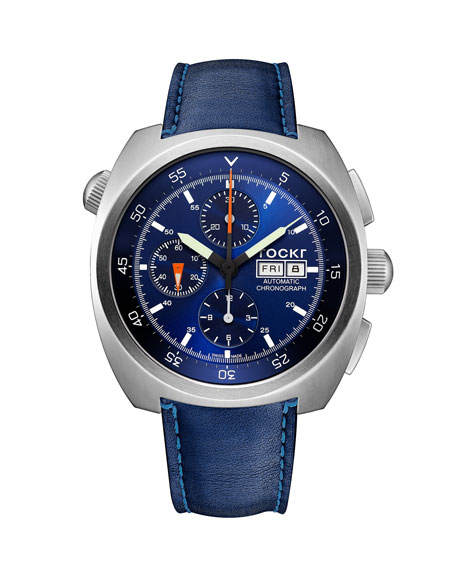 Tockr Watches Men's 45mm Air Defender Chronograph Watch with Blue Leather Strap