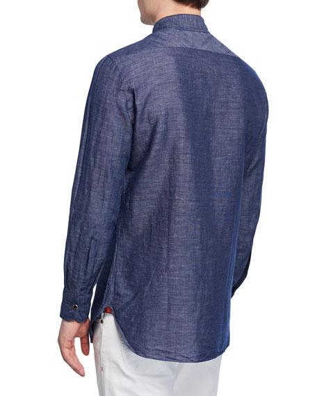 Isaia Men's Washed Denim Sport Shirt