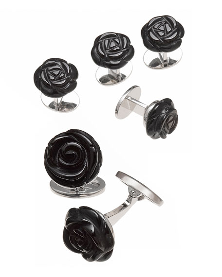 Jan Leslie Onyx Carved Rose Tuxedo Cuff Link and Stud Set