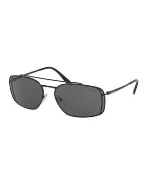 ed3ef5eefd Prada Men s Metal Double-Bridge Rectangle Sunglasses