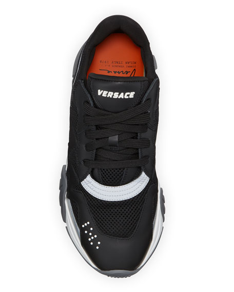Image 2 of 4: Versace Men's Squalo Mesh & Leather Sneakers
