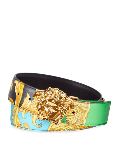Men's Barocco-Print Leather Belt with Medusa Buckle
