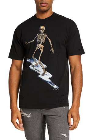 Domrebel Men's Skeleton Surfer Crystal Box Graphic T-Shirt