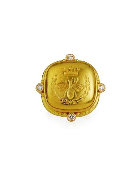 Elizabeth Locke Queen Bee 19k Cushion Ring w/ Diamonds, Size. 6.75