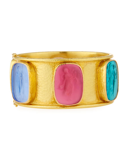 Muse Intaglio 19k Gold Bangle, Pastel