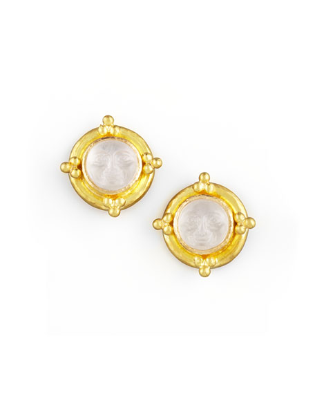 Man-in-the-Moon Intaglio Stud Earrings, Crystal