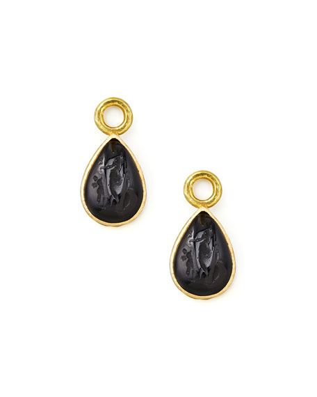 Elizabeth Locke Black Intaglio 19k Gold Teardrop Earring