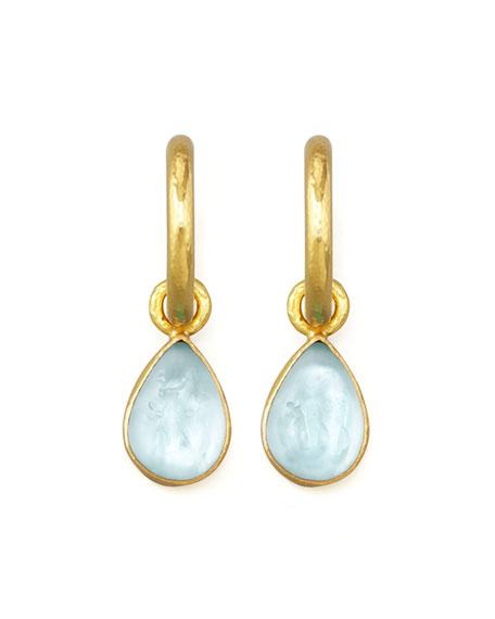 Light Aqua Intaglio Teardrop Earring Pendants