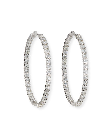 Roberto Coin 46mm White Gold Diamond Hoop Earrings, 7.57ct