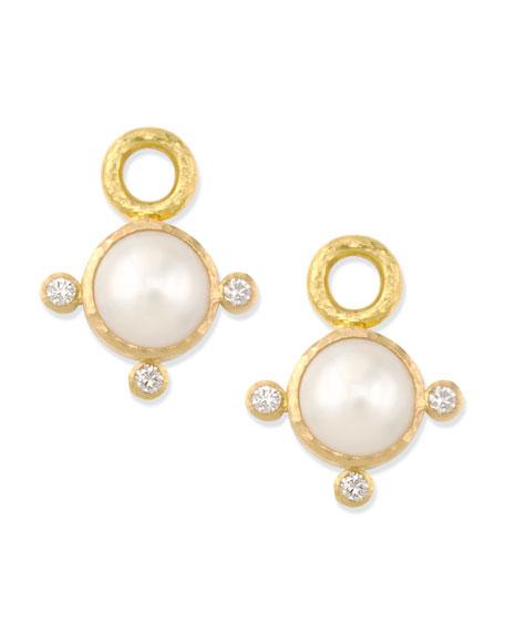 Elizabeth Locke 8mm White Akoya Pearl Earring Pendants 8aJAp