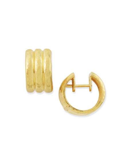 19k Gold Banded Hoop Earrings