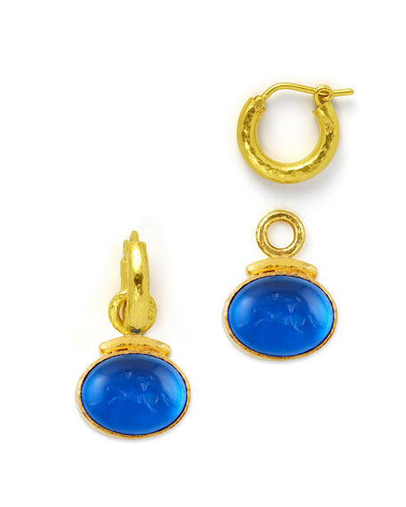 19k Gold Equestrian Intaglio Earring Pendants