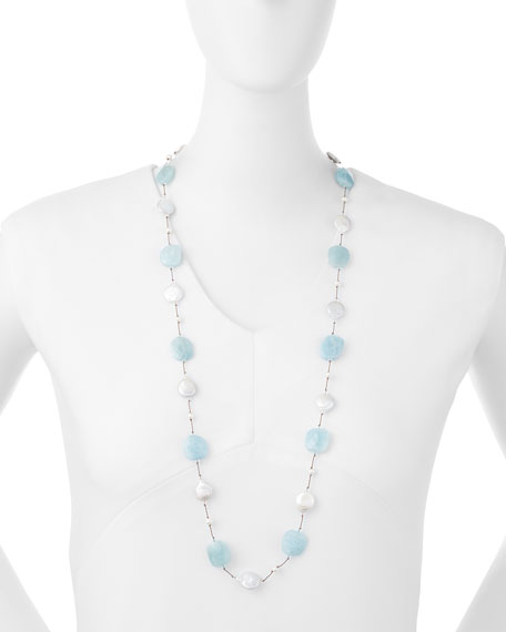 "Aquamarine & Coin Pearl Long Necklace, 35""L"