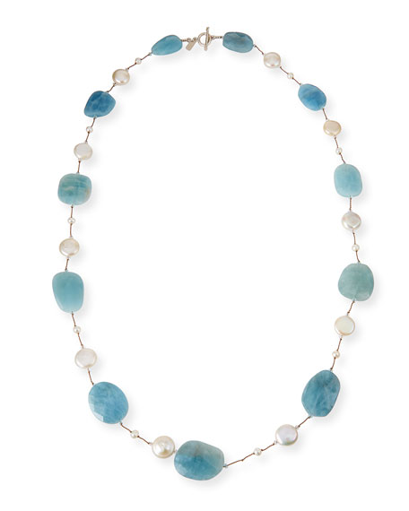 Margo Morrison Aquamarine & Coin Pearl Long Necklace,