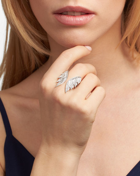 Magnipheasant White Diamond Open Wing Ring