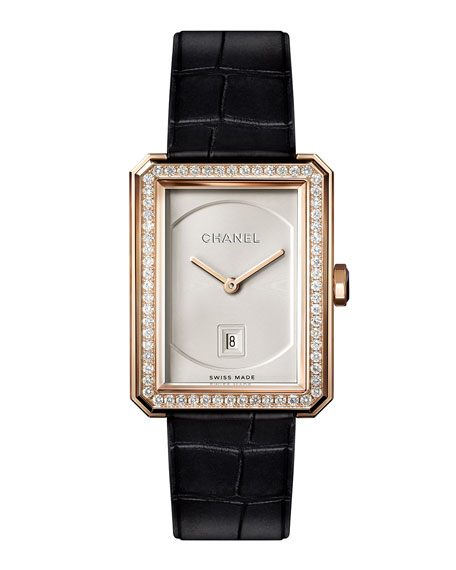 BOY·FRIEND 18K Beige Gold Watch with Diamonds, Medium Size
