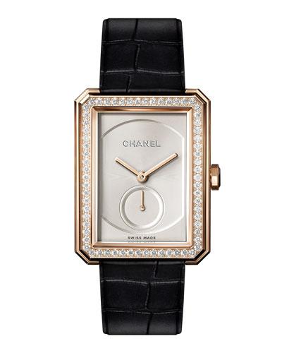 BOY·FRIEND 18K Beige Gold Watch with Diamonds, Large Size
