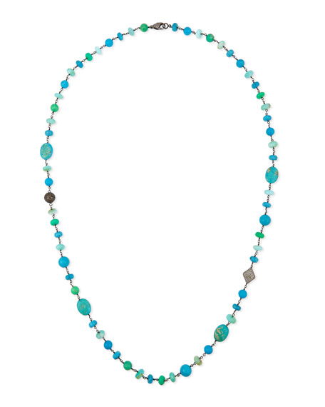 Sheryl Lowe Turquoise, Chrysoprase & Opal Bead Necklace