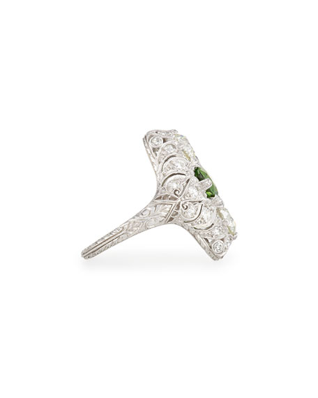 Estate Edwardian Demantoid Garnet Dinner Ring, Size 5.25