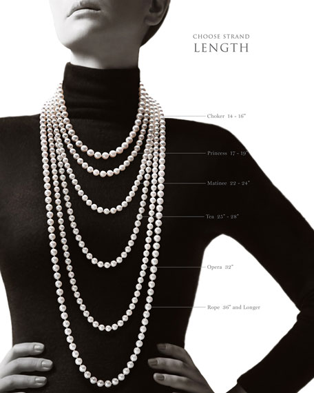 """Assael 32"""" Akoya Cultured 9.5mm Pearl Necklace with White Gold Clasp"""