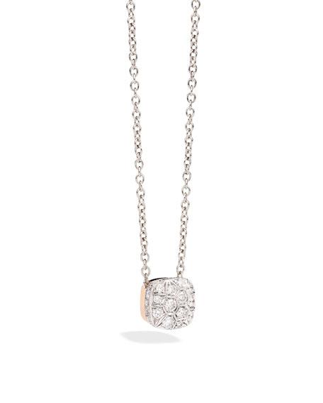 Pomellato grande nudo 18k white rose gold diamond pendant necklace mozeypictures Gallery