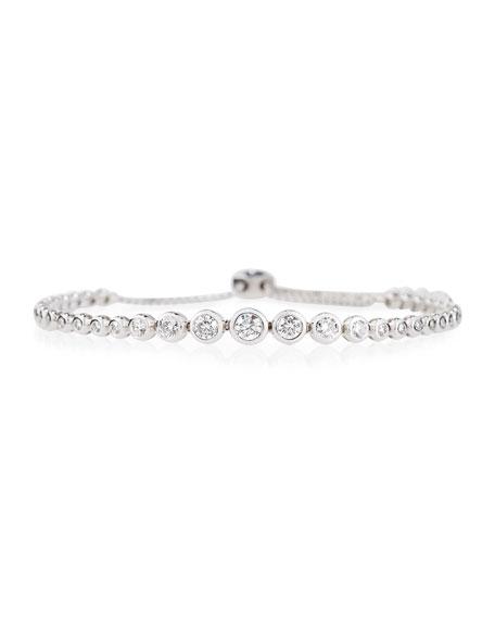 18K White Gold Graduated Diamond Bezel Bracelet