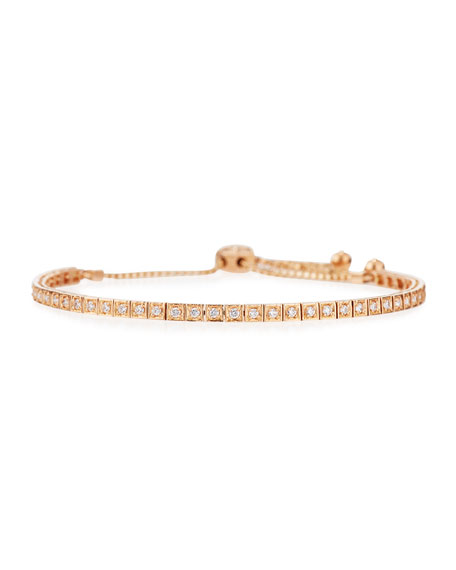 18K Rose Gold Square Diamond Bracelet