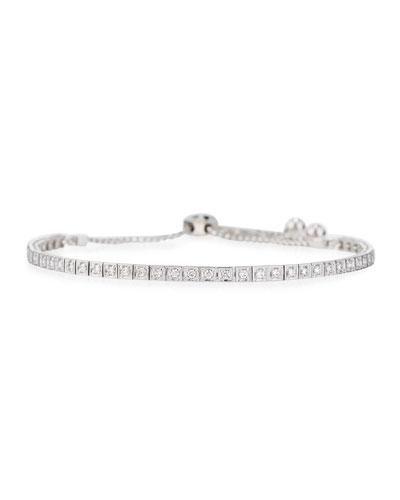 18K White Gold Square Diamond Bracelet