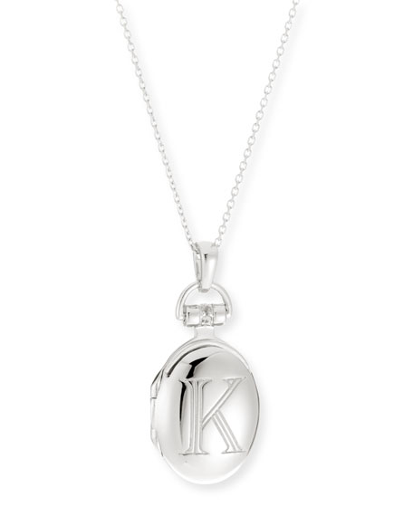 "Petite Sterling Silver Initial ""K"" Locket Necklace"