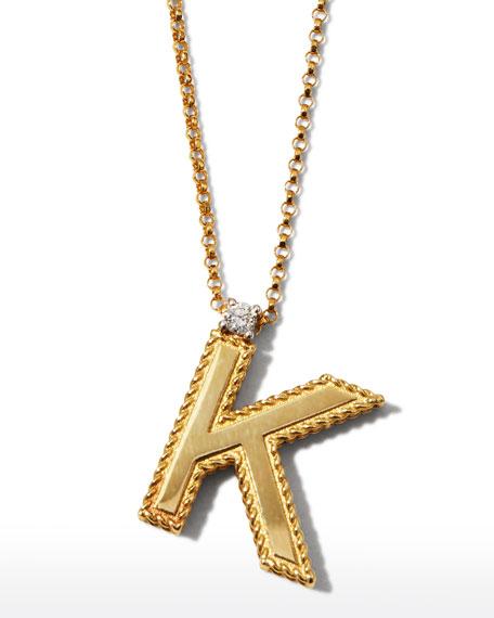 Roberto Coin Princess 18K Yellow Gold Diamond Initial Necklace, K