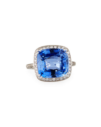 18k White Gold Blue Sapphire Cushion Ring w/ Diamonds