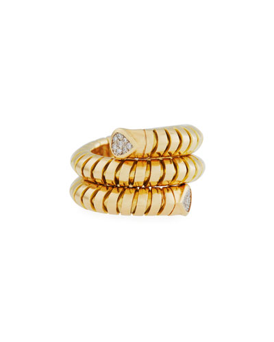 Trisola 18k Yellow Gold Diamond Coil Ring