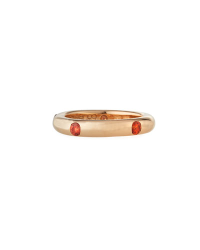 Pop Rose Gold and Orange Sapphire Band Ring  Size 6.75