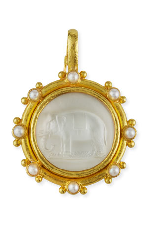 Elizabeth Locke 19K Elephant Venetian Glass Intaglio Pendant