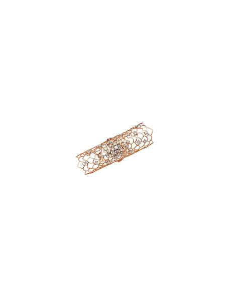 Staurino Moresca Armor 18k Rose Gold & Diamond Long Hinged Ring, Size 6