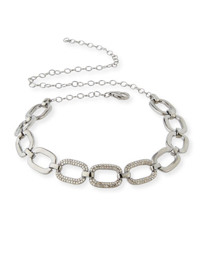 Abstract Diamond Link Choker Necklace
