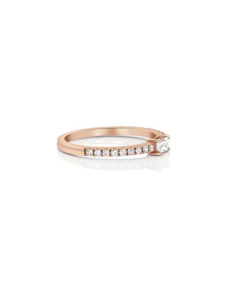 Dominique Cohen 18k Rose Gold Single Baguette Diamond Stacking Ring