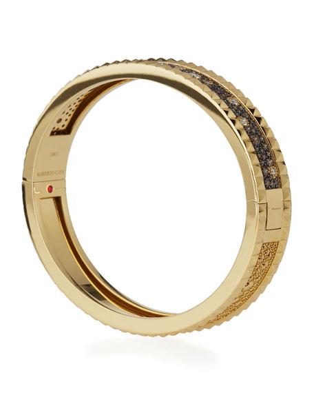 Roberto Coin ROBERTO COIN ROCK & DIAMONDS Small Bangle in 18K Yellow Gold, 1.49 tdcw