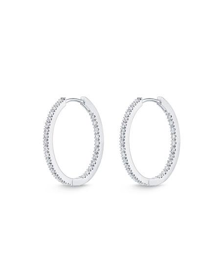 Memoire 18k White Gold Oval Hoop Earrings