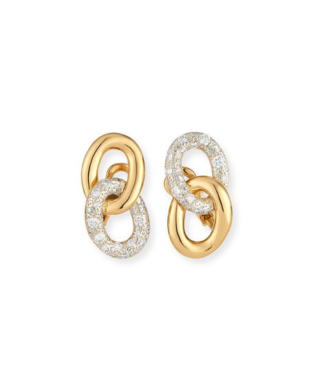 Tango Link Drop Earrings with Diamonds in 18K Gold