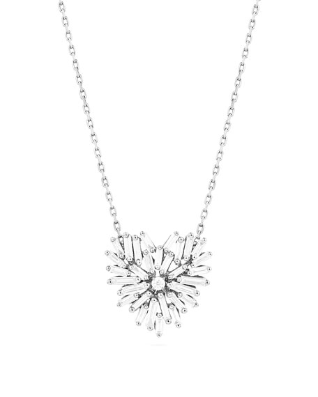 Suzanne Kalan Mini Baguette Diamond Heart Necklace in