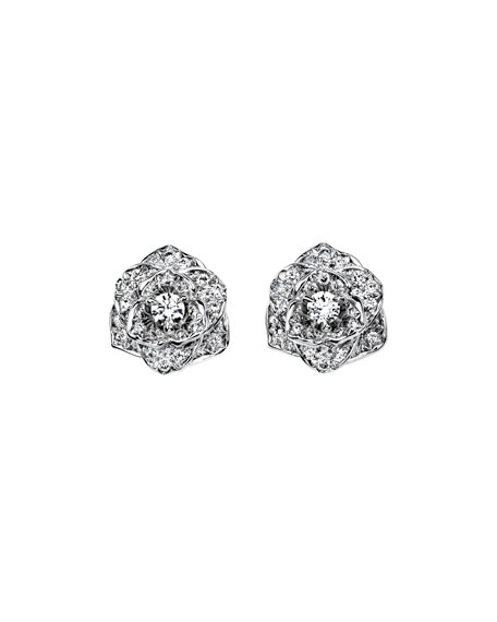 Diamond Rose Earrings in 18K White Gold