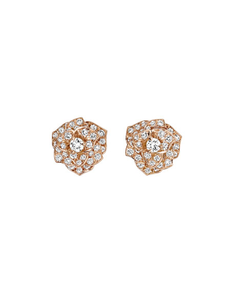 Diamond Rose Earrings in 18K Red Gold