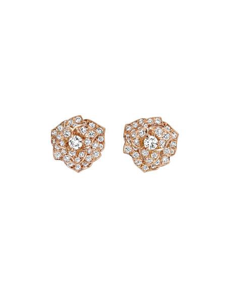 Diamond Rose Earrings in 18K Red Gold