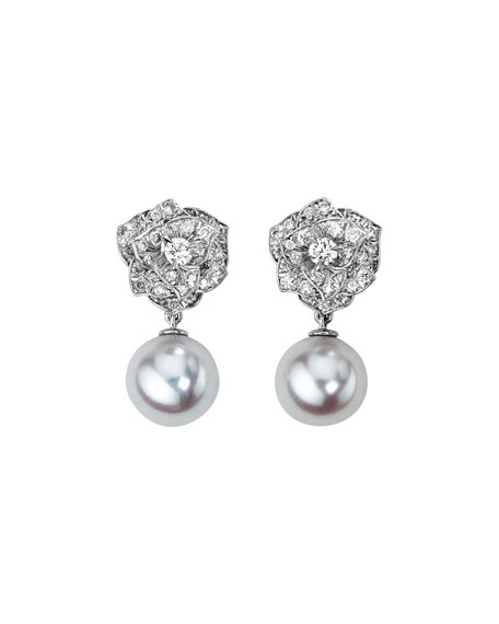 18K White Gold Diamond Rose & Akoya Pearl Drop Earrings